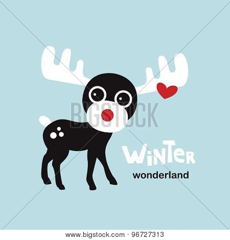 Winter wonderland moose cute little reindeer Christmas greeting card illustration template design in vector