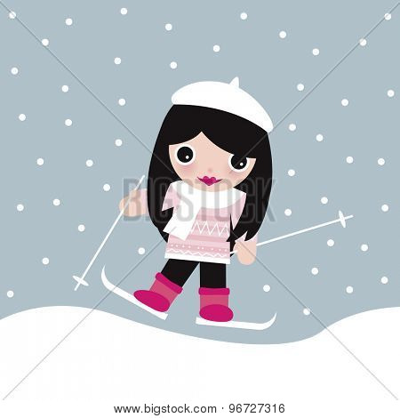 Cute winter wonderland theme illustration little skiing ski slope winter sports girl in snow postcard print cover design template in vector