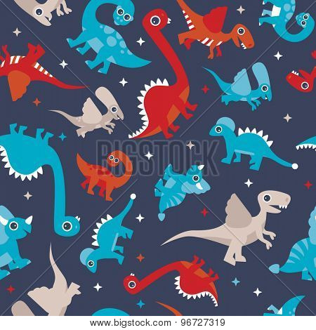 Seamless colorful kids animals dinosaur creatures for boys illustration background pattern in vector