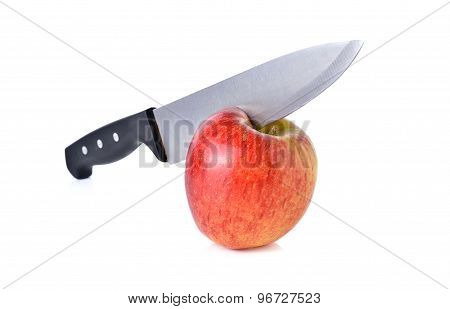 Knife Chop Up Apple On White Background