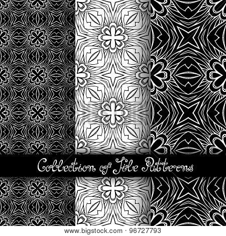Set Of 3 Seamless Vintage Patterns (vector