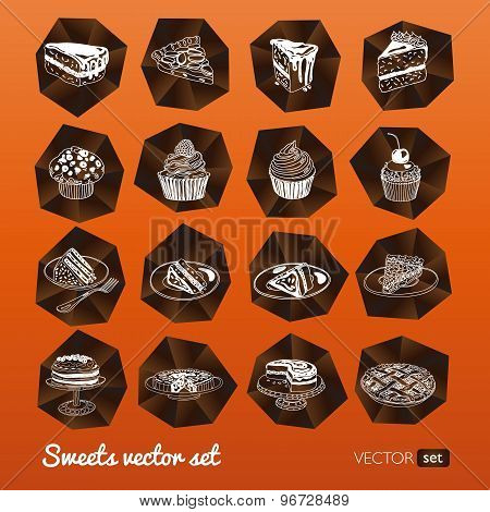 Vector collection of party pastry, cakes and sweets icons.