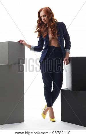 Red-haired top model advertises trendy clothes