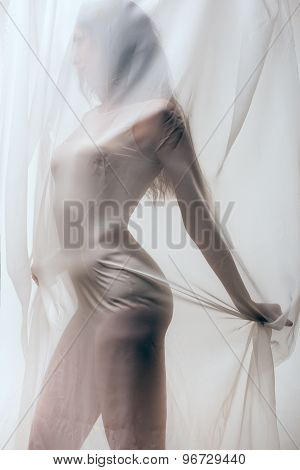 lady in combidress behind tulle