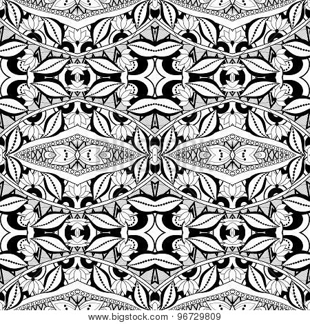 Vector Seamless Abstract Black and White Tribal Pattern