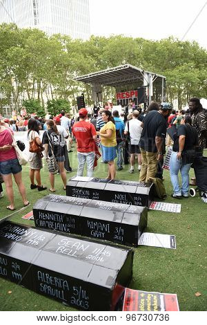 Symbolic coffins in Cadman Plaza