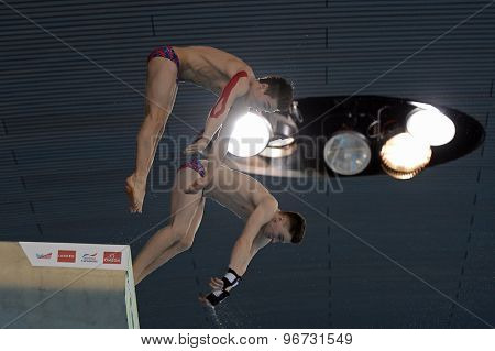 LONDON, GREAT BRITAIN - APRIL 25 2015: Jack Laugher and Chris Mears of Great Britain competing in the men's synchro 10m platform during the FINA/NVC Diving World Series at the London Aquatics Centre