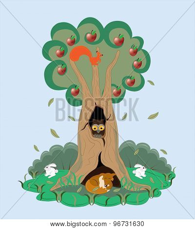 Tree with animals.