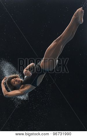 LONDON, GREAT BRITAIN - APRIL 27 2015: Jennifer Abel of Canada during the FINA/NVC Diving World Series at the London Aquatics Centre