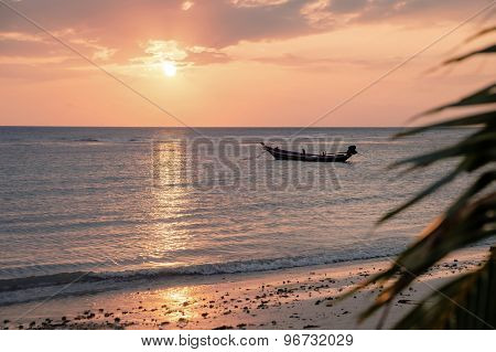 Beautiful view of sunset on the beach. Palm and boats in a sunlight.