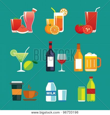 Drinks And Beverages Flat Design Icon Set