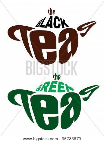 Set vector elements emblems from two teapots from letters for green and black tea