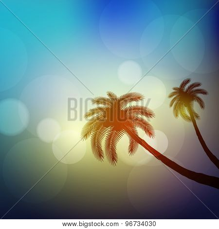 Summer Poster With Palm, Easy All Editable