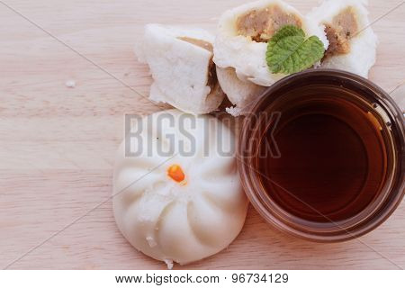 Steamed Pork Buns, Chinese Dim Sum And Hot Tea