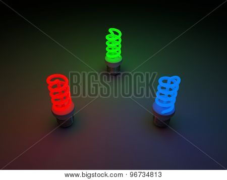 Red, Green And Blue Colored Fluorescent Lamps.