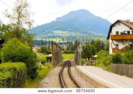 Railroad In Alpine Town