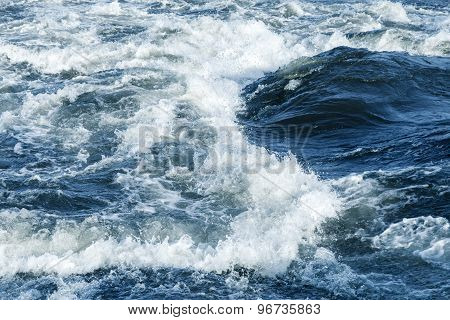 Fast River Water Background With Waves