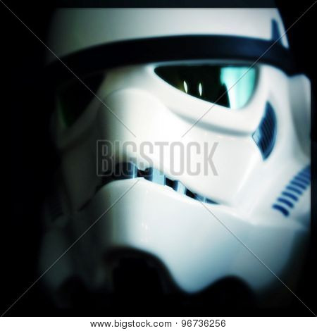New York - July 24 2015: Filtered Image Of An efx Brand Star Wars Stormtrooper Helmet.