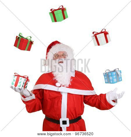 Santa Claus Throwing Christmas Gifts Isolated