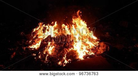 Embers burning in fire closeup