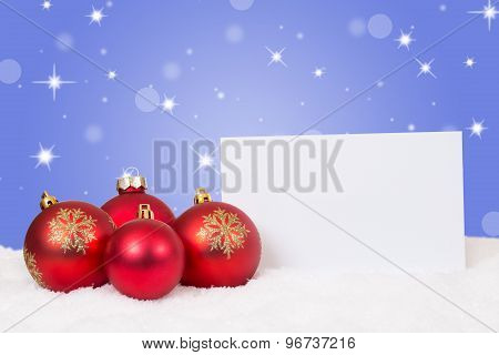 Red Christmas Balls Card For Wishes With Copyspace