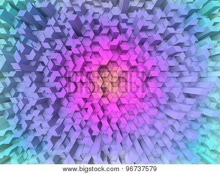 Fisheye View Of Random Elevated Geometric Shapes