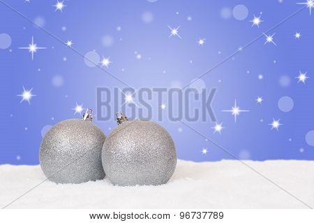 Silver Christmas Balls Decoration With Snow And Snowflakes