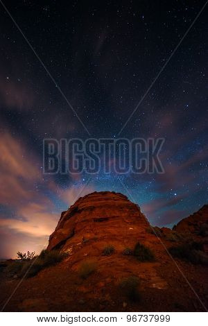 Beautiful Night Starry Sky Over The Valley Of Fire State Park Nevada