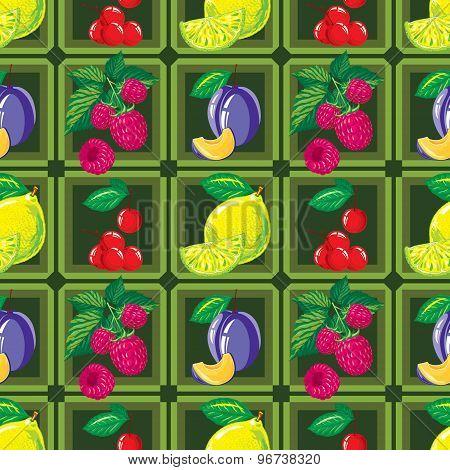 seamless pattern of ripe lemon, raspberry, cherry and plum