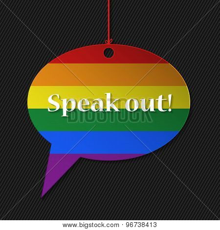 Gay Flagged Speech Bubble With Text