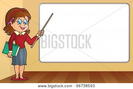 Woman teacher standing by whiteboard - eps10 vector illustration.