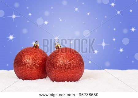 Red Christmas Balls Decoration With Snow And Snowflakes