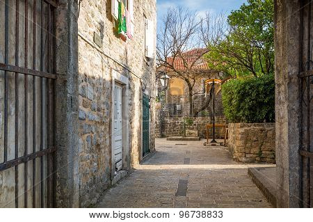 Street of historical Budva old town