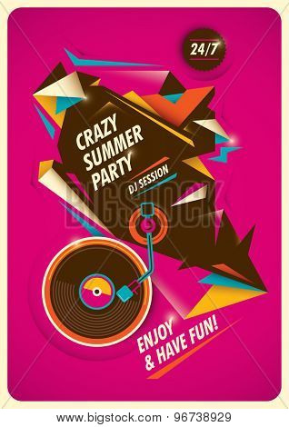 Crazy summer party poster. Vector illustration.