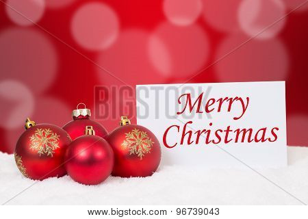 Merry Christmas Card With Balls For Wishes