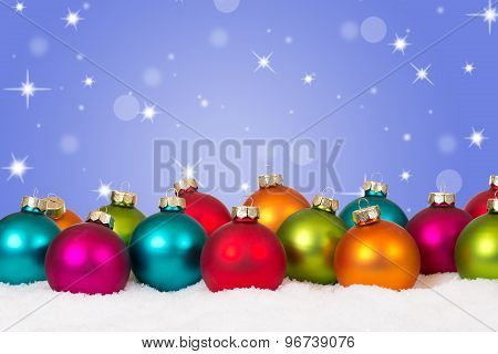Many Colorful Christmas Balls Background Decoration With Copyspace