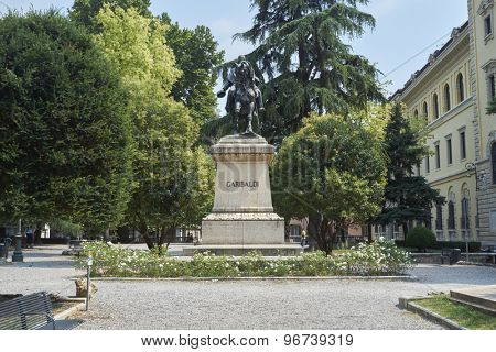 VERONA, ITALY - JULY 13: Statue of Giuseppe Garibaldi in Independence Square. July 13, 2015 in Verona.