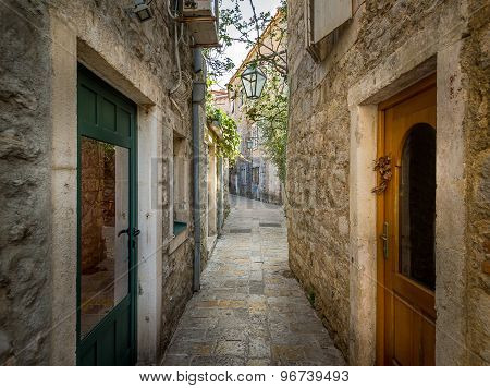 Old town narrow street of Budva