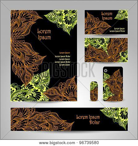 Set Template with doodle flowers in blue green