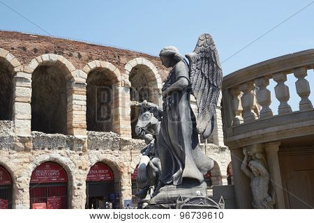 VERONA, ITALY - JULY 13: Prop of an angel outisde the Arena. July 13, 2015 in Verona. The Opera Festival is one of the main international events in the opera circuit.