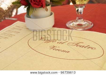 VERONA, ITALY - JULY 11: Close up of paper table cover of traditional Caffe al Teatro restaurant. July 11, 2015 in Verona.