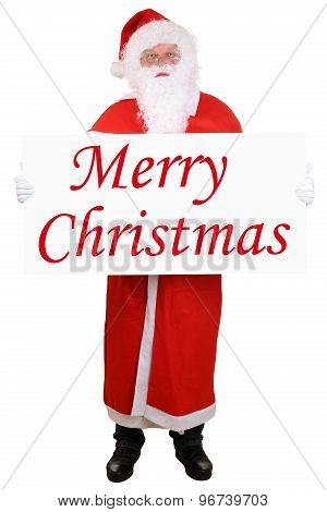 Santa Claus Holding Banner With Merry Christmas Isolated