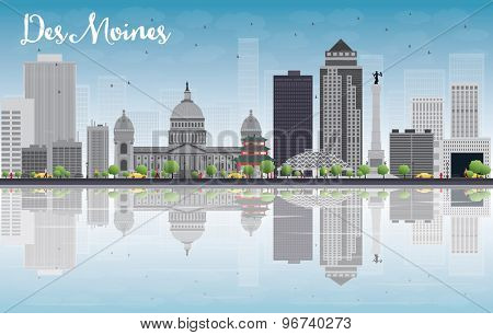 Des Moines Skyline with Grey Buildings, Blue Sky and reflections. Vector Illustration