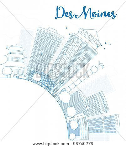 Outline Des Moines Skyline with Blue Buildings and copy space. Vector Illustration