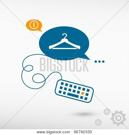 Hanger Icon And Keyboard On Chat Speech Bubbles