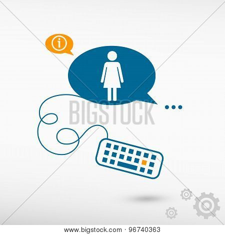 Woman Icon And Keyboard On Chat Speech Bubbles