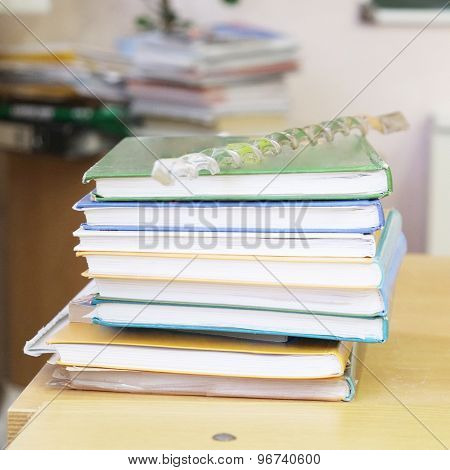 School books on the table