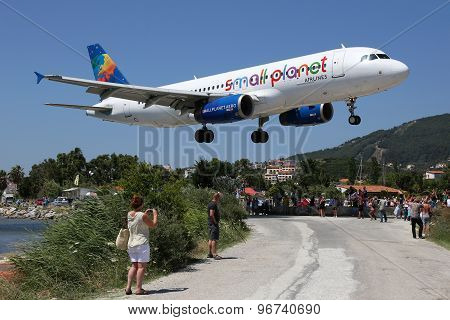 Small Planet Airlines Airbus A320 Airplane Skiathos Airport