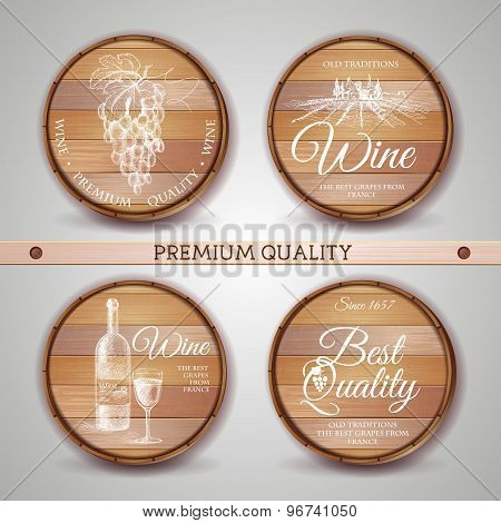 Set Of Wooden Casks With Wine Label