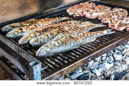 Fish And Steak On The Charcoal Grill Together